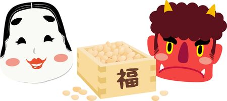 Facing right illustrations of red demon and Okame, one of Japanese traditional mask and beans box ,using in