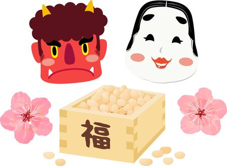 Illustrations of red demon and Okame, one of Japanese traditional mask and beans box ,using in