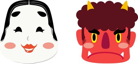Illustrations of Red Demon and Okame, One of Japanese Traditional Mask