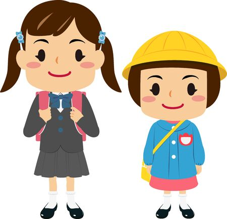 Illustrations of a girl in elementary school and a girl in kindergarten