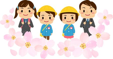 Illustrations of children in kindergarten  and  elementary school with cherry blossoms decoration