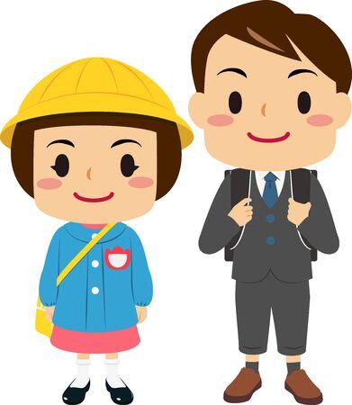 Ilustraciones de un niño en la escuela primaria y una niña en el jardín de infantes. Ilustración de vector