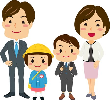 Illustrations of parents Attended Their Daughters and Son's Entrance Ceremony Vetores
