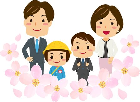 Illustrations of parents attended their daughters and son's entrance ceremony with cherry blossoms decoration Illustration