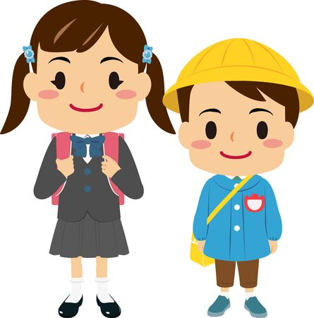 Illustrations of a girl in elementary school and a boy in kindergarten Illustration