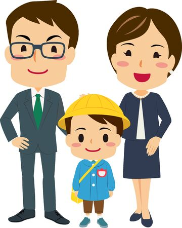 Illustrations of parents Attended Their son's entrance ceremony