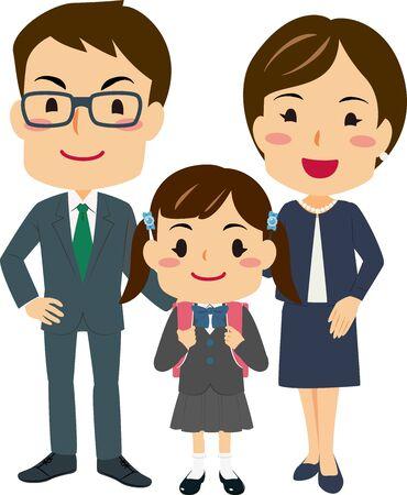 Illustrations of parents Attended Their Daughters Entrance Ceremony Illusztráció