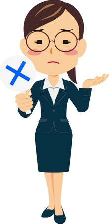 Illustration of a woman in a suit holding an incorrect plate