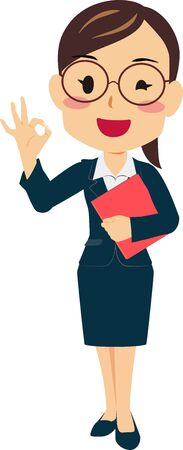 Illustration of a woman in a suit giveing OK sign