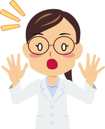 Illustration of a surprised woman in white coat