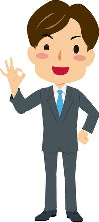Illustration of a man in suit giveing OK sign Standard-Bild - 138767353