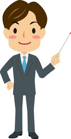 Illustration of a man in suit holding a pointing stick Illustration