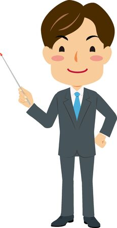 Illustration of a man in suit holding a pointing stick Standard-Bild - 138767366