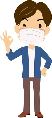 Illustration of a man putting on a mask giveing OK sign