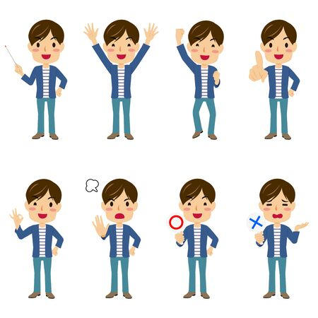 Illustrations of a young man with 8 different pauses #01