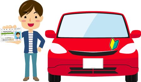 Illustration of a young man getting a driving license with a red car