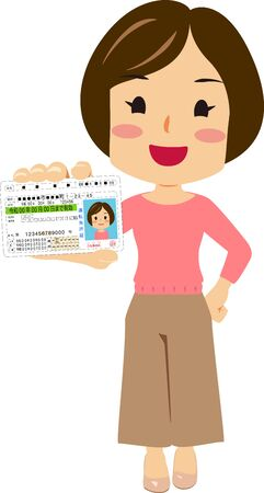 Illustration of a woman getting a driving license Ilustração
