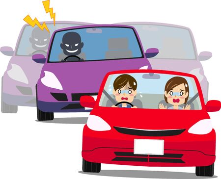 Illustration of men and women affected of tailgating driving