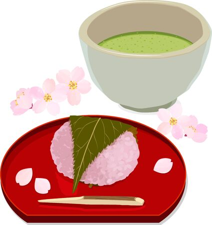 Vector illustration of sakura rice cake and matcha with cherry blossom petals