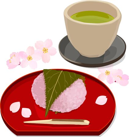 Vector illustration of sakura rice cake and japanese green tea with cherry blossom petals Ilustração