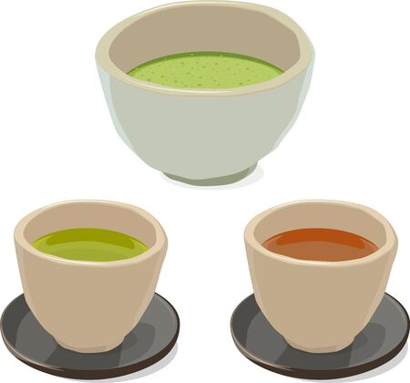 Vector illustrations of matcha and Japanese green tea and roasted green tea