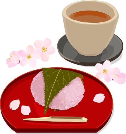 Vector illustration of sakura rice cake and japanese roasted green tea with cherry blossom petals