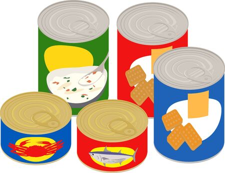 Vector illustration of 5 kinds of can