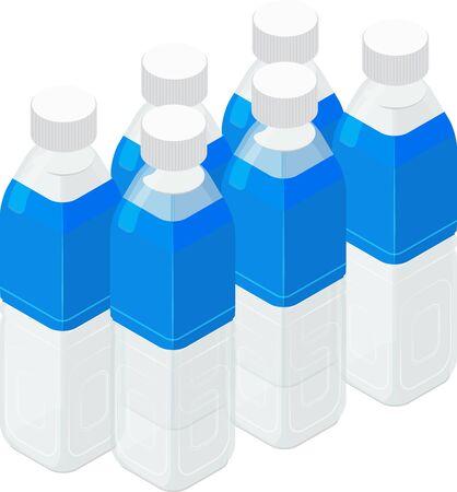 Vector illustration of 6 plastic bottles of water