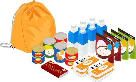 Vector illustration of preserved foods and disaster prevention bag.  with japanese label packed rice #01