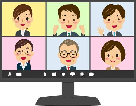 Vector illustration of teleworking pc screen