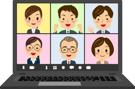Vector illustration of teleworking laptop pc screen