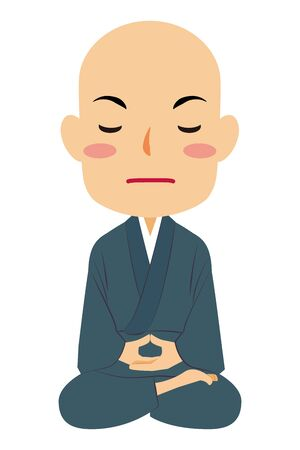 Vector illustration of zazen sitting Japanese Buddhist monk #04. Buddha. Spiritual. Buddhism.