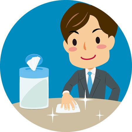 Vector illustration of blue icon of cleaning a table with disinfecting wipes. Coronavirus prevention. Illustration