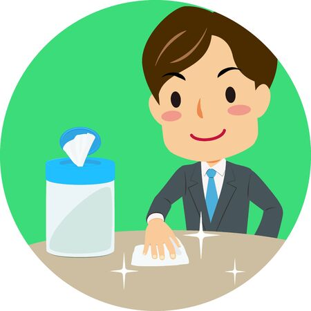 Vector illustration of green icon of cleaning a table with disinfecting wipes. Coronavirus prevention.