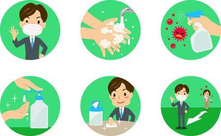 Vector illustration of various green icons for Coronavirus prevention.