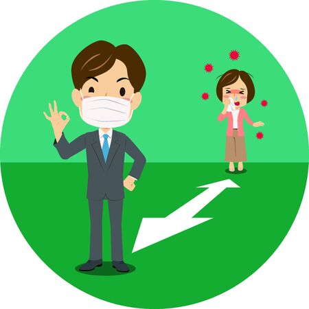 Vector illustration of green icon of social distancing. Coronavirus prevention. Illustration