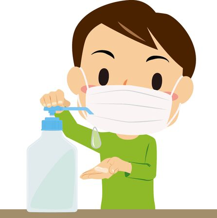 Illustration of a boy disinfecting hands