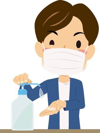 Illustration of a man disinfecting hands