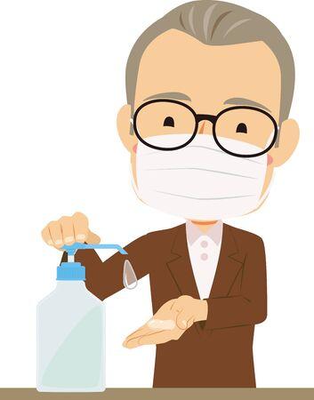 Illustration of an oldman disinfecting hands Illustration