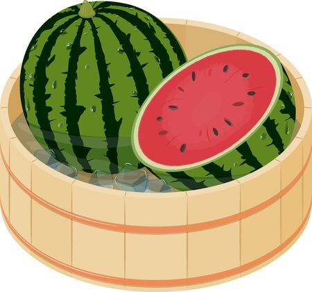 Vector illustration of cool whole watermelon and watermelon cut in half with some ice in Japanese