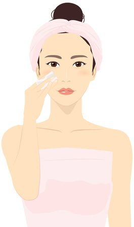 Vector illustration of a woman putting a towel around her head, removing her makeup with cotton puff.