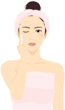 Vector illustration of a woman putting a towel around her head, closing one eye, applying toner with cotton puff.