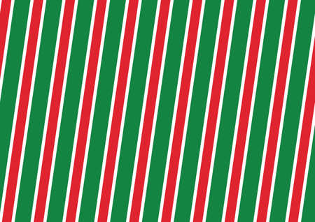 Abstract Seamless diagonal striped pattern with red and white and green stripes. Vector illustration
