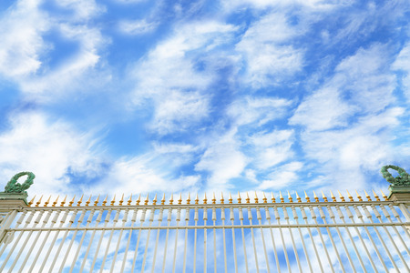 guest house: Guest House fence and sky and clouds