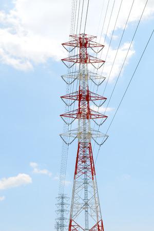 light transmission: Highvoltage power line Tower Stock Photo