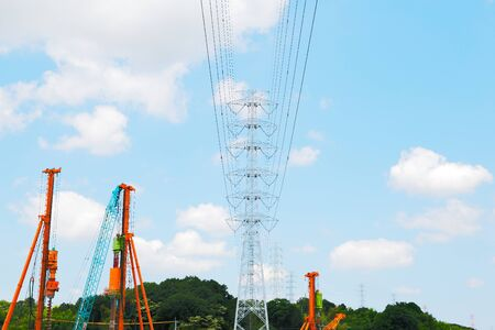 power line tower: Construction of highvoltage power line Tower
