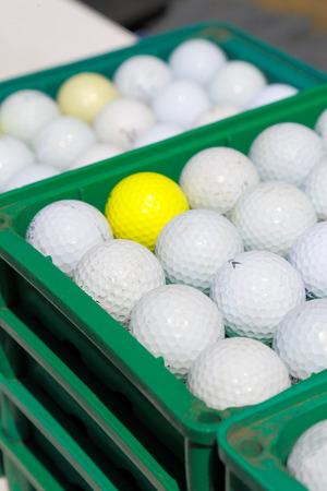 driving range: Driving range golf balls Stock Photo