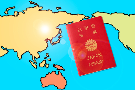 Passport and a map of the world Imagens