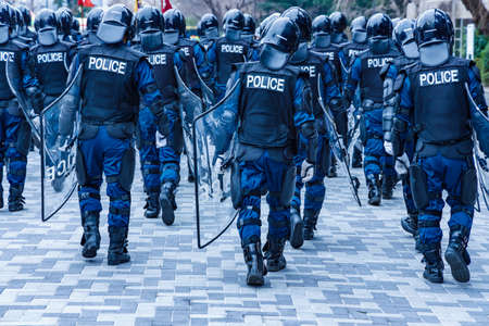 Police riot police protect the peace of the city 写真素材