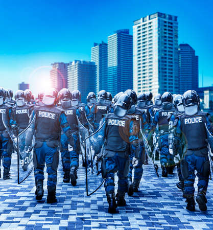 Police riot police protect the peace of the city Stockfoto